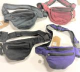 NEPAL MADE SOLID COLOR 100% COTTON FANNY PACKS, 3 ZIPPERS