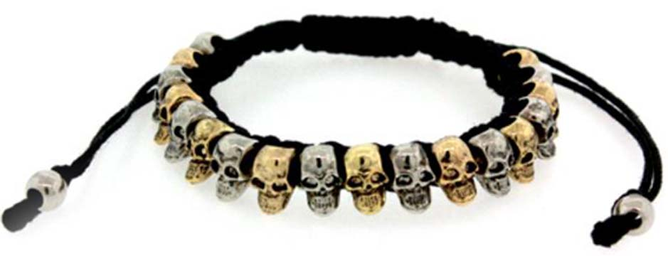 METAL SKULLS 5 DIFFERENT COMBOS ON LEATHER CORD TYPE BRACELET