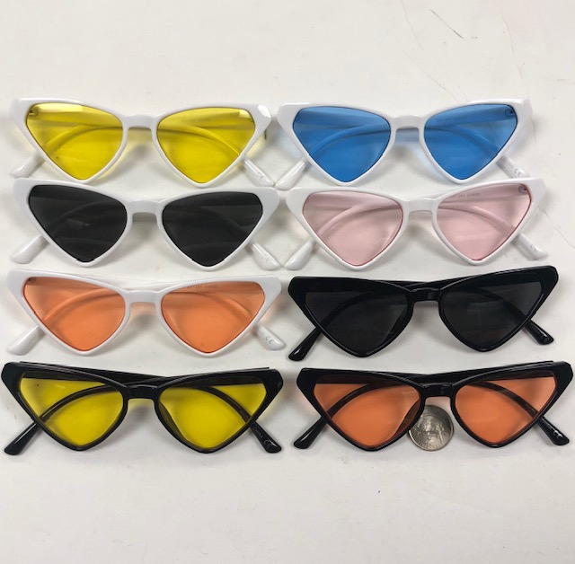 TRIANGLE SHAPED PLASTIC FRAMES WITH ASSORTED COLOR LENSES