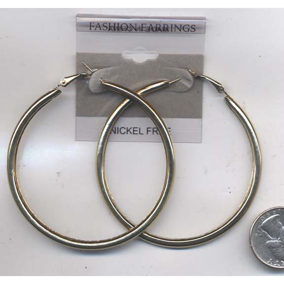 2.5 INCH DIAMETER GOLD HOOP TUBE EARRINGS