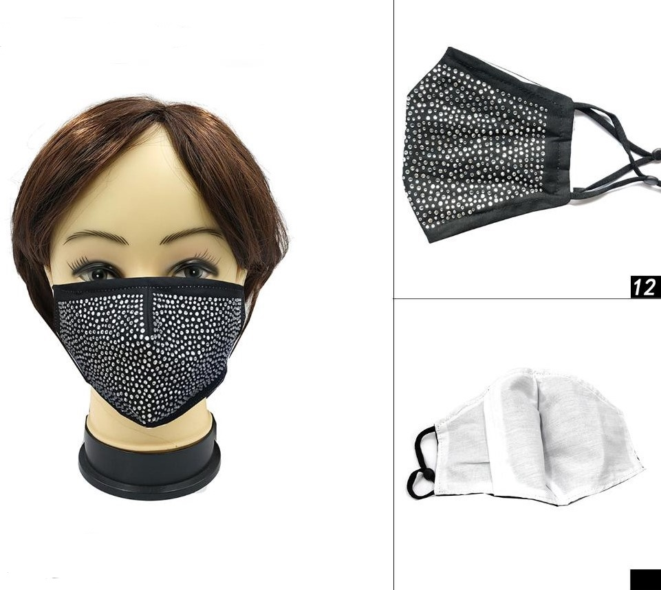 FACE MASKS, ALL BLACK, GEM COVERED, very good quality