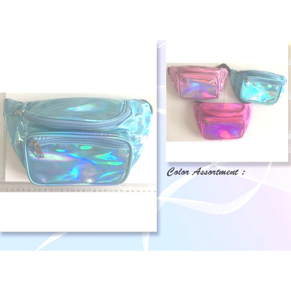 IRIDESCENT PINK, LITE LAVENDER AND SOFT BLUE FANNY PACKS