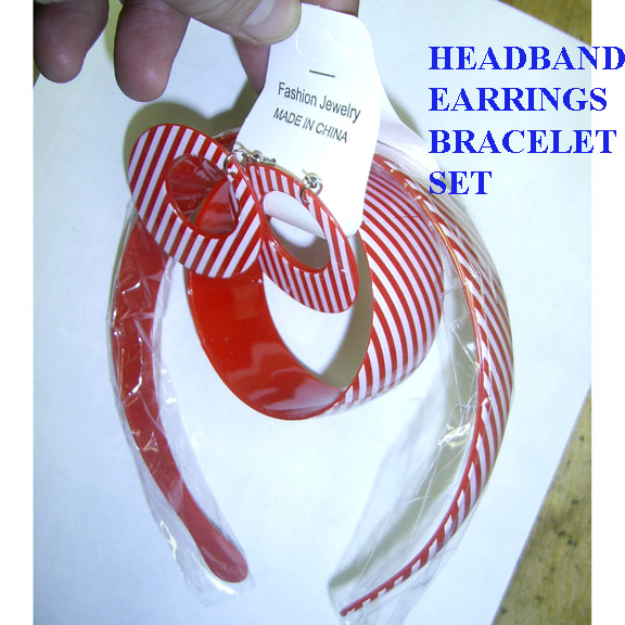 HEADBAND, BRACELETS, & EARRINGS, STRIPES MOD SET