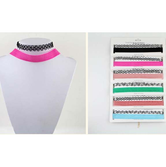 2 CHOKER NECKLACES PER UNIT, FISHLINE AND VELVET IN ASST COLORS