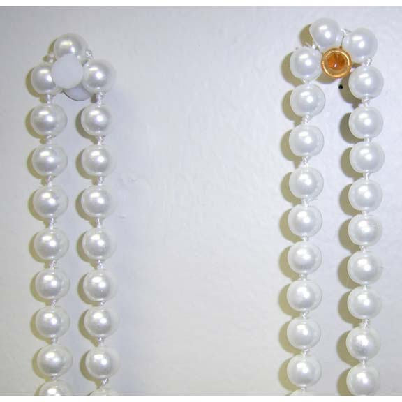 90 INCH GLASS BEAD PEARL NECKLACE WHITE
