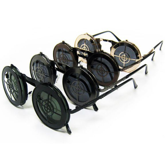 BULLS EYE STEAMPUNK LOOKING FLIP UP COOL SUNGLASSES