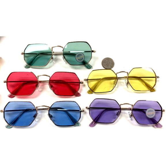 6 SIDED METAL FRAMES/LENNON LOOK, COLOR LENSES SUNGLASSES