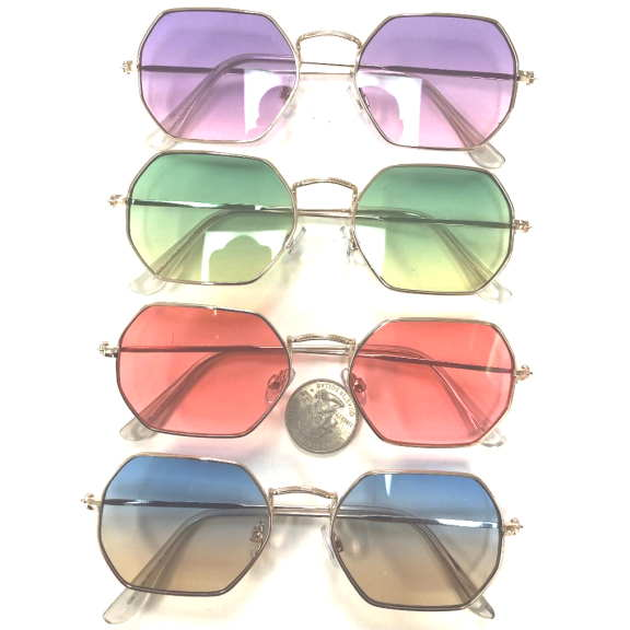 6 SIDED LENNON LOOK OCEAN LENSES SUNGLASSES, ASSORTED COLORS