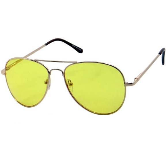 YELLOW LENS AVIATORS, ALL GOLD FRAMES SUNGLASSES, SPRING TEMPLE