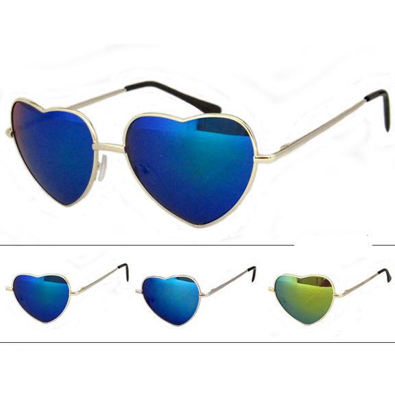 HEART SHAPE REVO LENS SUNGLASSES SPRING TEMPLE