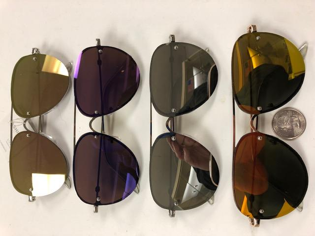 AVIATOR LOOKING FRAMELESS FLAT FRAMES, REVO LENS SUNGLASSES