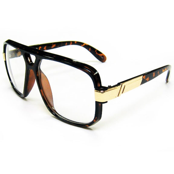 CLEAR LENS SUNGLASSES GOLD TRIM EDGE, 80'S LOOK TOO