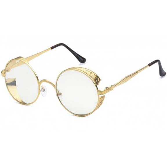 CLEAR LENS METAL FRAMES SMALL SHIELD, STEAMPUNK LOOK TOO