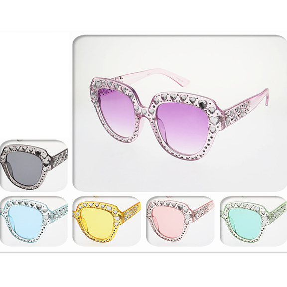 HEART SHAPE GEMS IN ASSORTED COLOR FRAMES AND LENSES