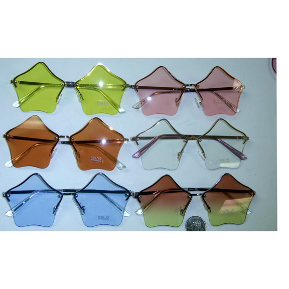 STAR SHAPE LENS SUNGLASSES IN ASSORTED COLORS, METAL ARMS