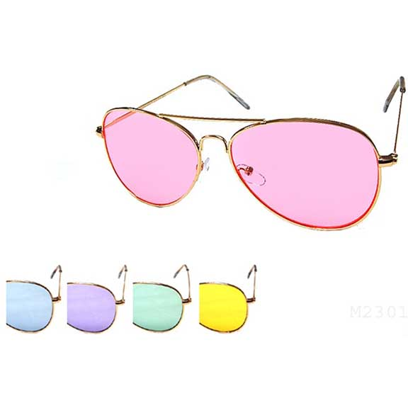AVIATOR SUNGLASSES, 5 COLOR LENSES, SOFT COLORS, METAL FRAMES