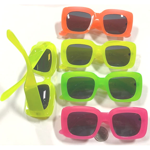 SQUARISH SHAPE, HOT NEON COLORS, DASK LENS SUNGLASSES