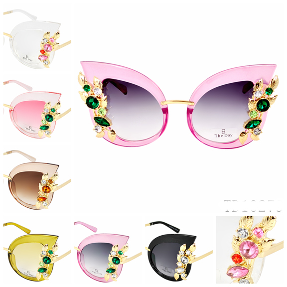 LADIES SUNGLASSES IN ASSORTED COLORS AND GEMS DECORATIONS