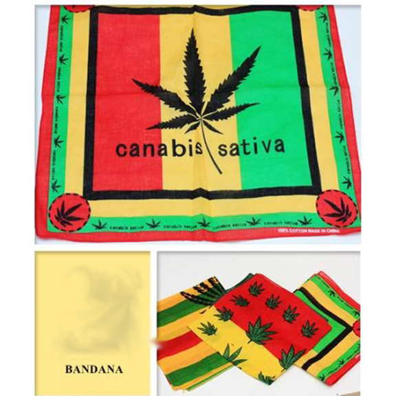 RASTA COLORS BANDANA WITH POT LEAVES ASSORTED STYLES