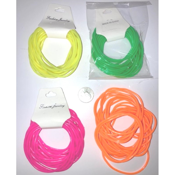 NEON COLORS RUBBER BRACELETS, 24P/CARD