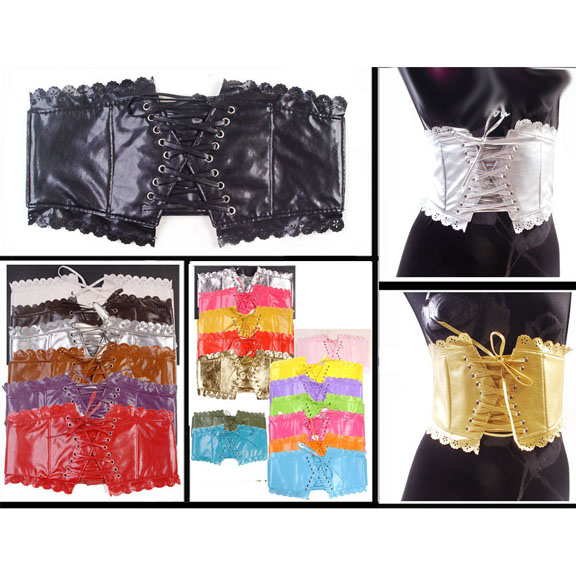 LACE EDGE TIE UP CORSET STYLE BELT, NO BLACK OR BROWN IN STOCK