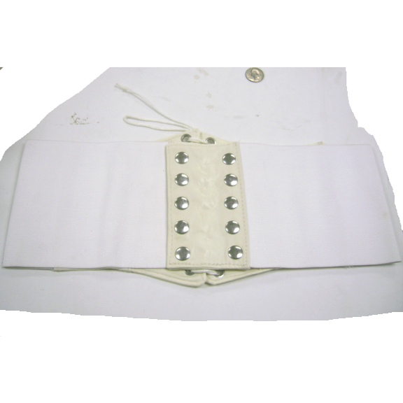 WHITE WIDE CORSET BELT LACE UP FRONT, 7 INCHES WIDE