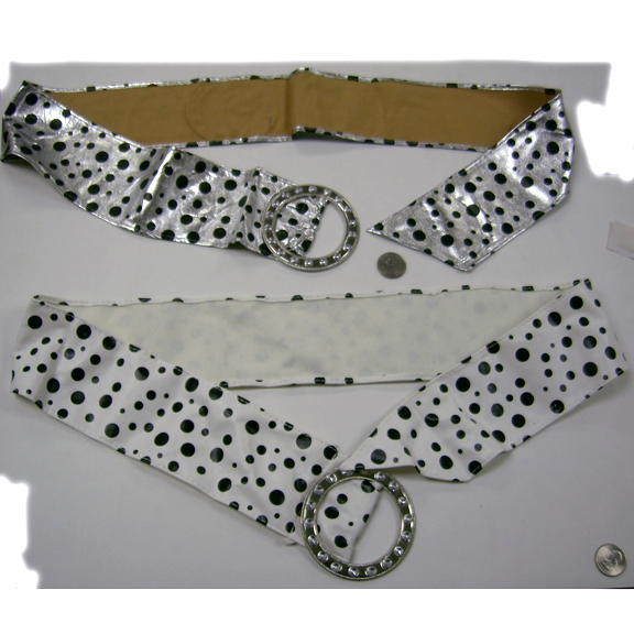 WHITE AND SILVER COLOR BELTS WITH DOTS, 80&#39S FASHION