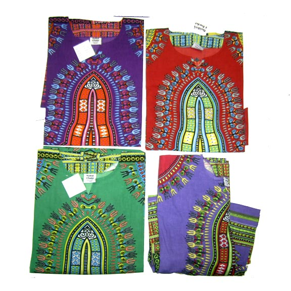 DASHIKI LONG DRESS WITH BELL SLEEVES SIZES, MED,XL, XXL, XXXL