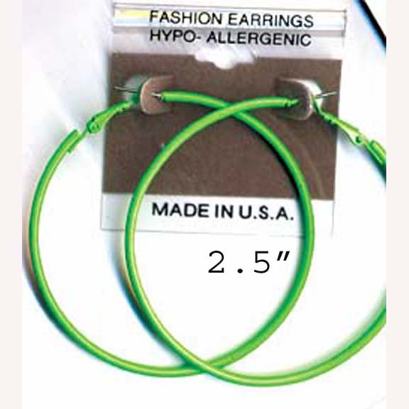 "NEON 2"" HOOP EARRINGS IN ASST COLORS"