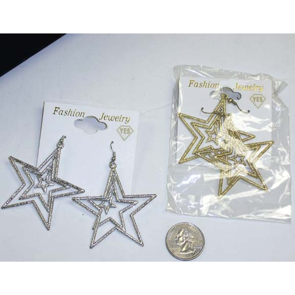 STARS EARRINGS, SILVER, GOLD, 3 STARS DANGLE, 1 DZ IN STOCK