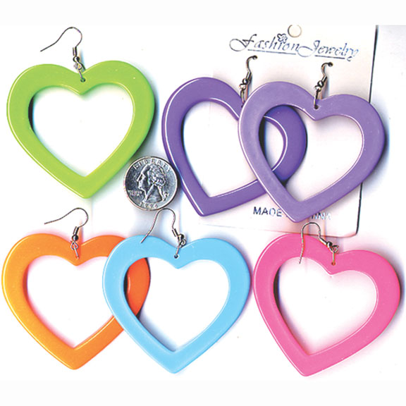 HEART EARRINGS IN 6 LARGE FUN COLORS