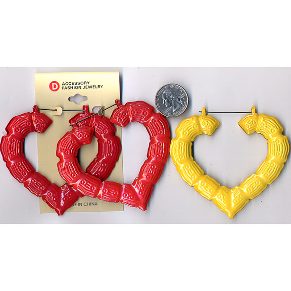BAMBOO HEART COLOR EARRINGS