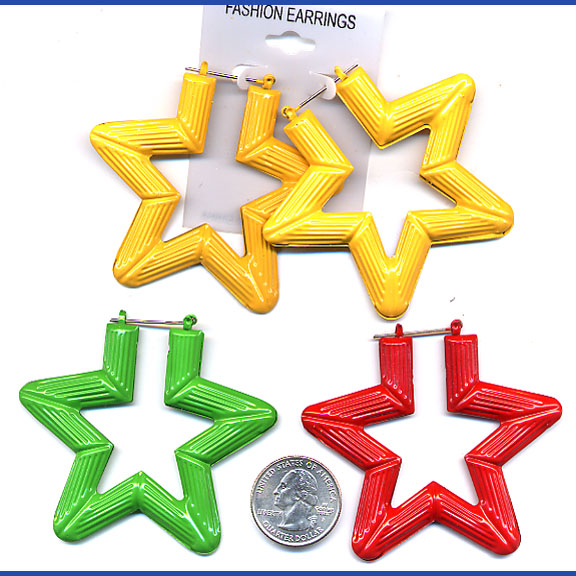 BAMBOO STAR COLOR EARRINGS
