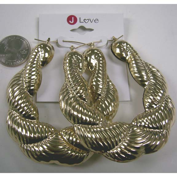 GOLD METAL RIPPLE LOOK LINES EARRINGS