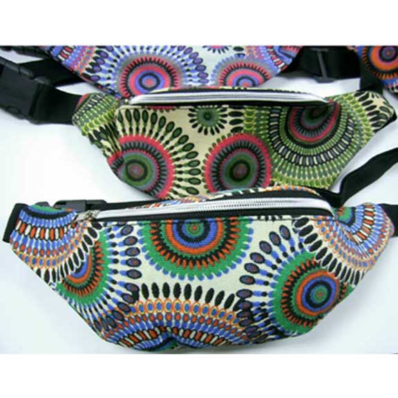 FUNKY STYLE PRINT 2 ZIPPER FANNY BAGS. 5 COLORS