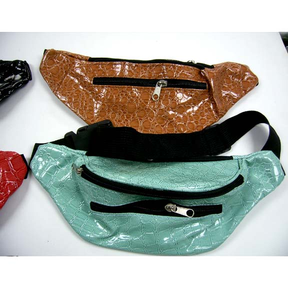 SNAKE SKIN LOOK IN 5 COLORS FANNY PACKS, 3 ZIPPERS