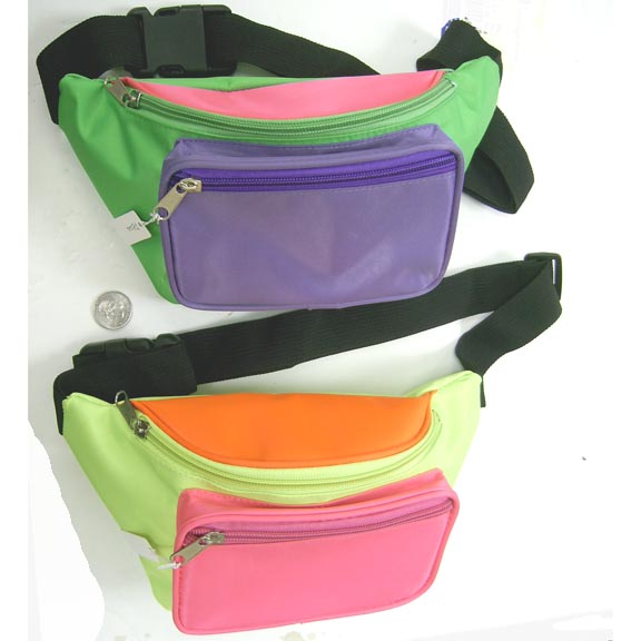 3 COLOR FANNY PACKS IN BRIGHT COLORS, 2 ZIPPERS,