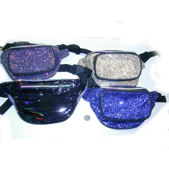 GLITTER/SEQUIN HIGH QUALITY 3 ZIPPER FANNY PACK