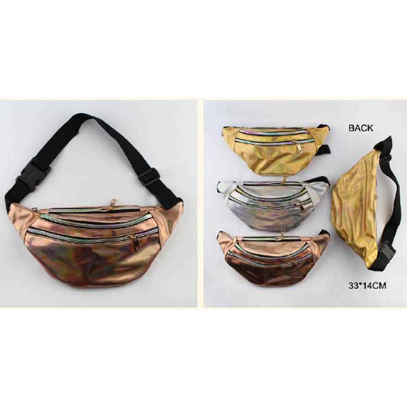 3 COLORS IRIDESCENT PVC 3 ZIPPER FANNY PACKS