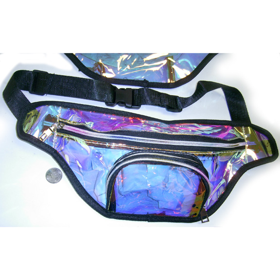 TRANSCLUENT/GOLDISH HUE BLACK TRIM BORDER, 2 ZIPPERS FANNY PACKS
