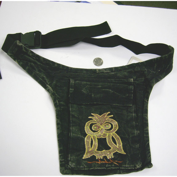 NEPAL MADE, black on in stock OWL FRONT 2 POCKET FANNY BAG,