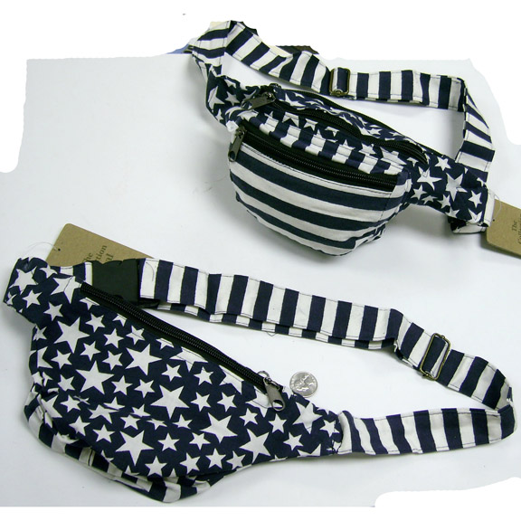 NEPAL MADE STARS & STRIPES FANNY PACK, NAVY BLUE & WHITE