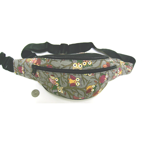 OWL PRINT FANNY PACKS IN PINK AND GRAY, 3 ZIPPERS