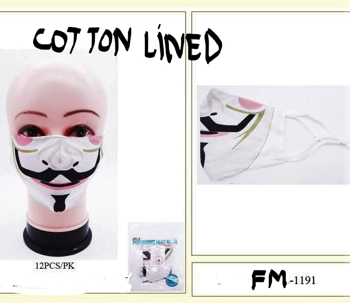 FACE MASKS, COTTON LINED, ADJUSTABLE EAR LOOP
