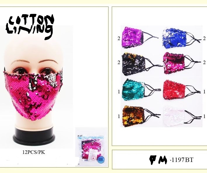 SEQUIN, MERMAID STYLE FACE MASKS, COTTON LINING, ASST COLORS