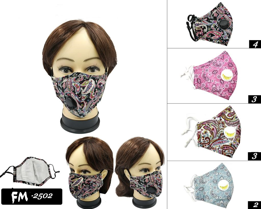 BANDANNA PRINT STYLE FACE MASKS WITH BREATH VALVE, COTTON