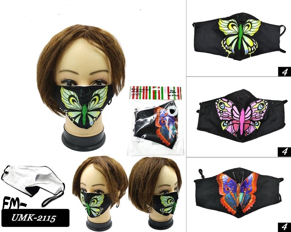 FACE MASKS, BUTTERFLY PRINT, ALL COTTON, WASHABLE