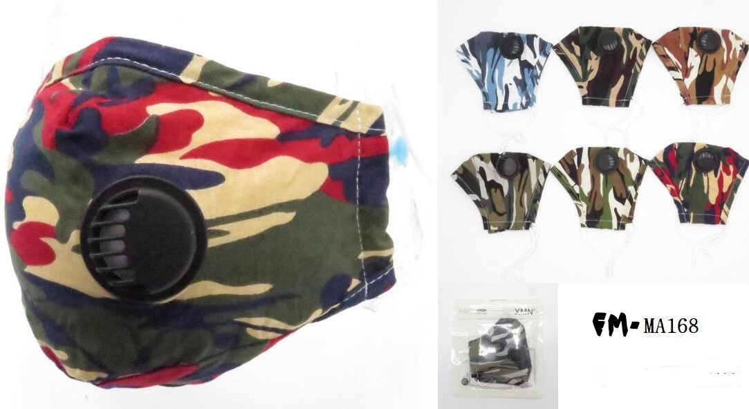 FACE MASKS WITH BREATH VALVE, 6 ASSORTED CAMO COLORS