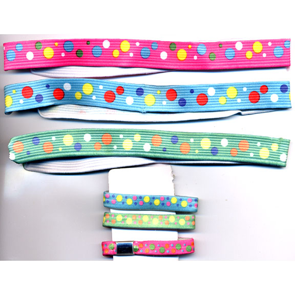 6 PIECE SET  OF POLKADOT STRETCHY HEADBAND & HAIR PONYTAIL