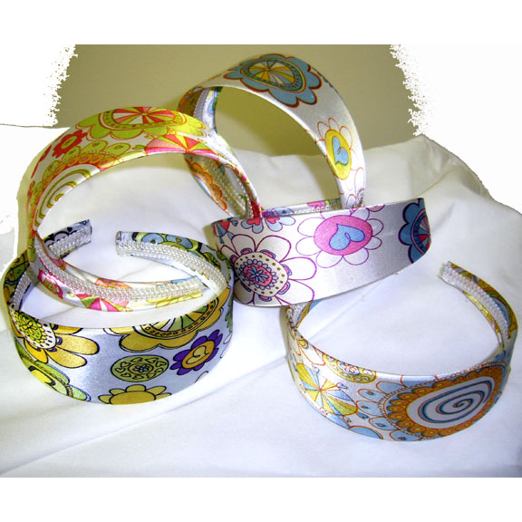 FUNKY FLOWERS AND HEARTS HIPPY HEADBANDS